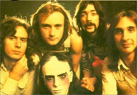 Genesis in the early 70's (Clockwise from bottom: Peter Gabriel, Tony Banks, Phil Collins, Steve Hackett, Mike Rutherford)