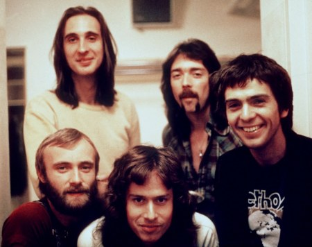 Genesis circa mid 1970's (Clockwise from bottom: Tony Banks, Phil Collins, Mike Rutherford, Steve Hackett and Peter Gabriel (courtesy pixshark.com)