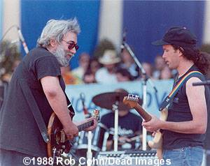 Jerry Garcia jams with Steve Kimock live (photo by Robbi Cohn)