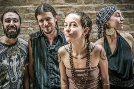 Rising Appalachia (L-R, Biko Casini, David Brown, Leah Song, Chloe Smith) play the Jefferson Theater in Charlottesville on New Year's Eve (photo courtesy RA)