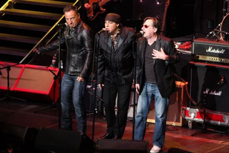 Bruce Springsteen, Steven Van Zandt and Southside Johnny on stage together